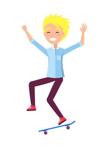 Skateboarder Smiling Blond Boy Vector Illustration