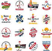 Skateboarders people tricks silhouettes sport logo badge for team extreme skateboarding urban life people vector illustration