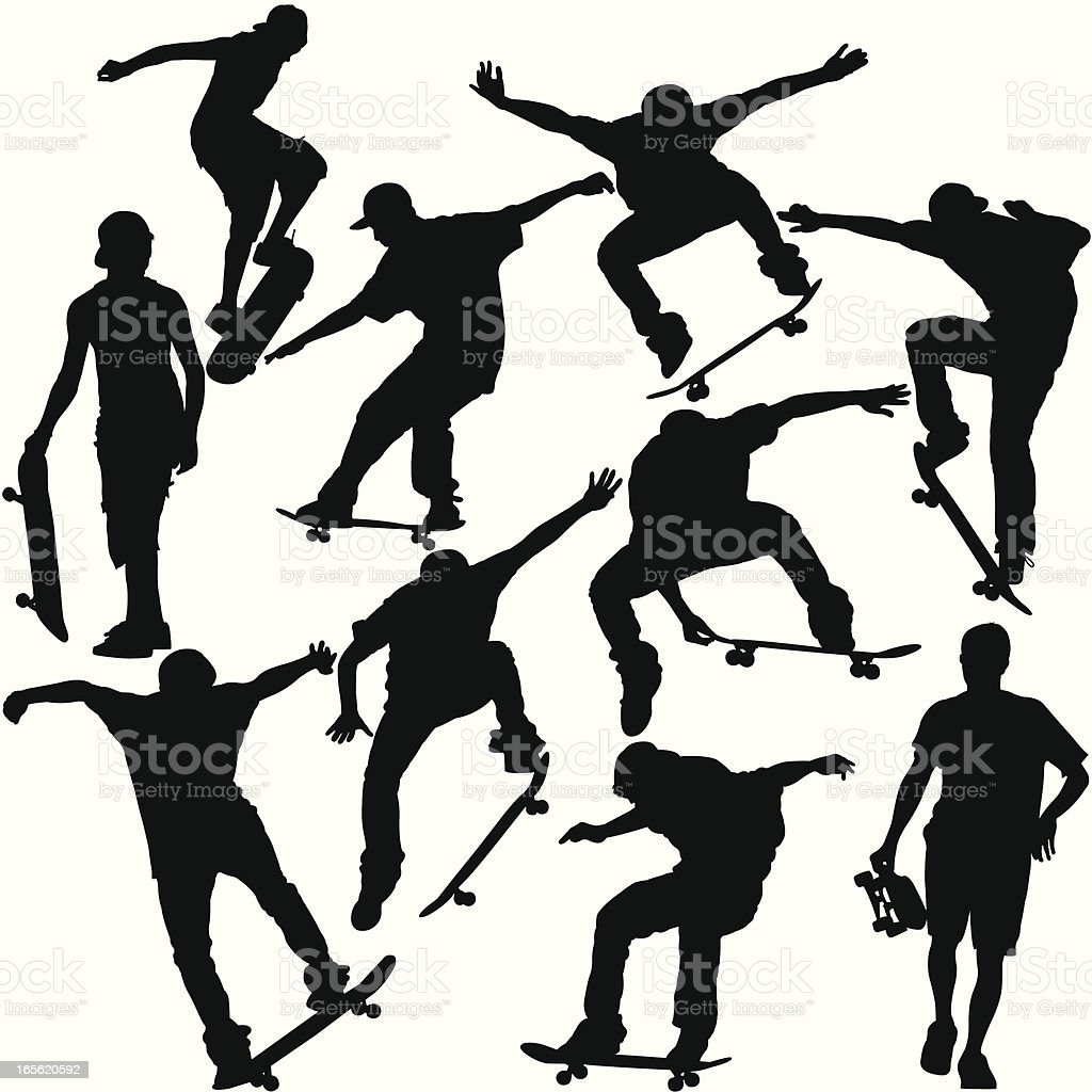 Skateboarders Silhouette Set royalty-free skateboarders silhouette set stock vector art & more images of athlete