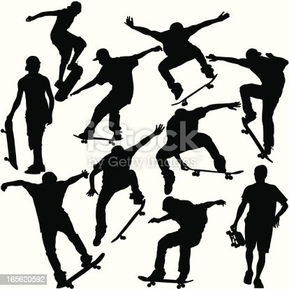 This is a set of silhouettes of skateboarders doing various tricks and maneuvers. This illustration is perfect for a variety of different design projects. This file has been layered and grouped for easy editing. This file includes a large JPG file, an ai V10 file, and an eps file.