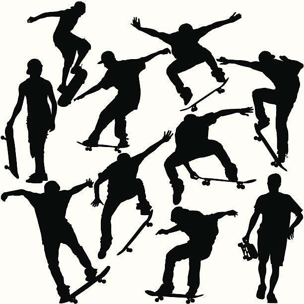 Skateboarders Silhouette Set This is a set of silhouettes of skateboarders doing various tricks and maneuvers. This illustration is perfect for a variety of different design projects. This file has been layered and grouped for easy editing. This file includes a large JPG file, an ai V10 file, and an eps file. skateboard stock illustrations