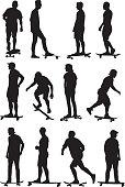 Vector silhouettes of twelve skateboarders.