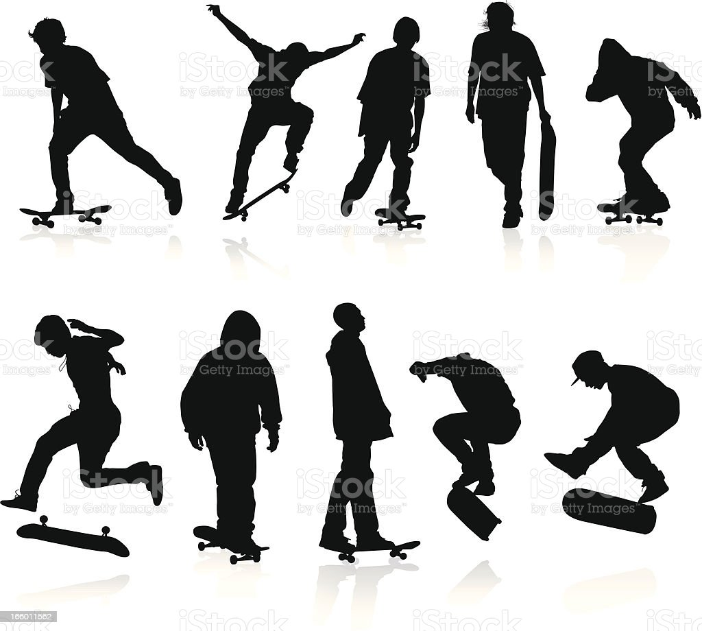 Skateboarders silhouettes royalty-free stock vector art