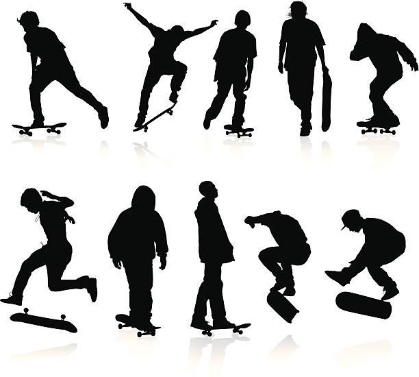 ilustrações, clipart, desenhos animados e ícones de skatistas silhuetas - andar de skate