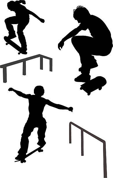 bildbanksillustrationer, clip art samt tecknat material och ikoner med skateboarders (vector) - skatepark