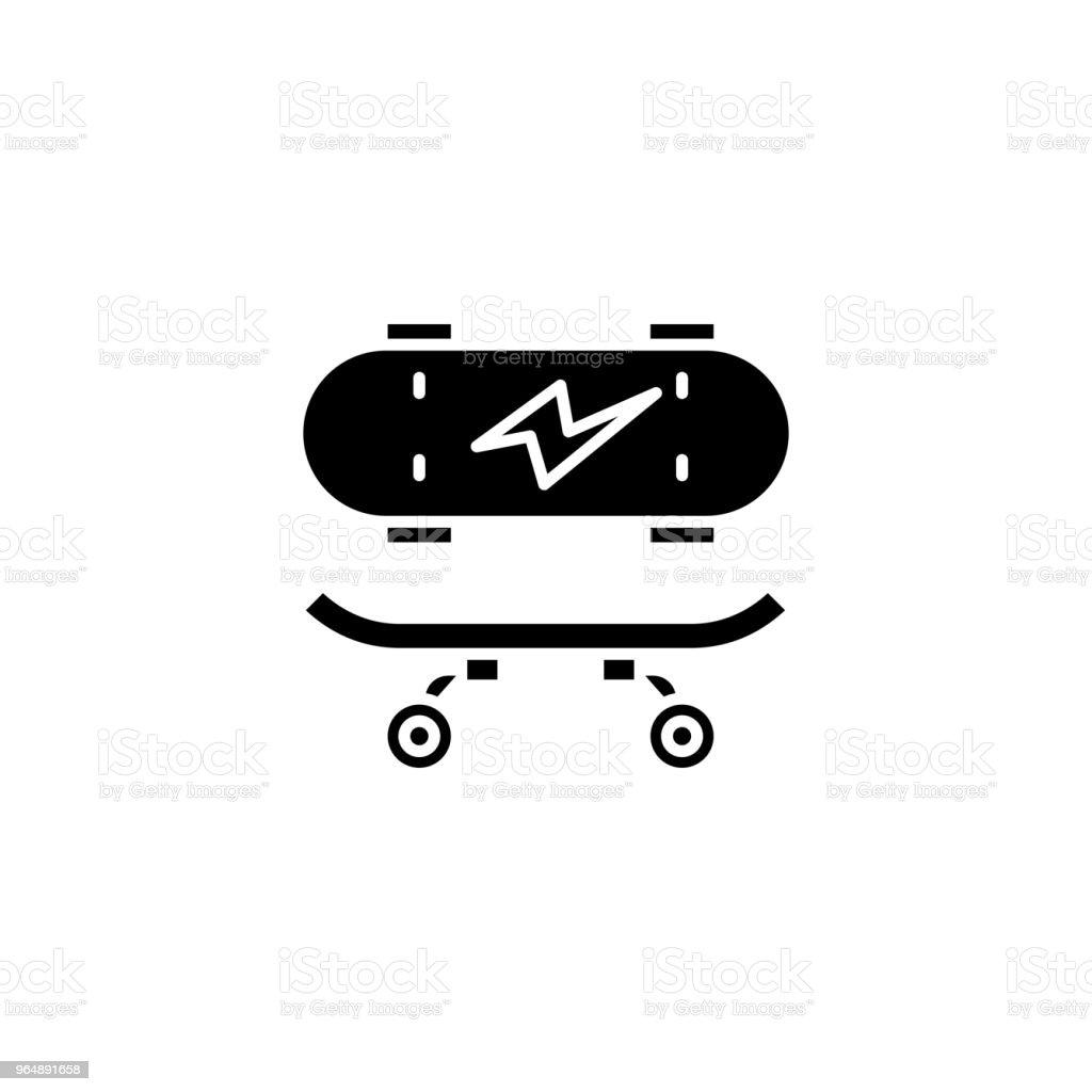 Skateboarding black icon concept. Skateboarding flat  vector symbol, sign, illustration. royalty-free skateboarding black icon concept skateboarding flat vector symbol sign illustration stock vector art & more images of no people