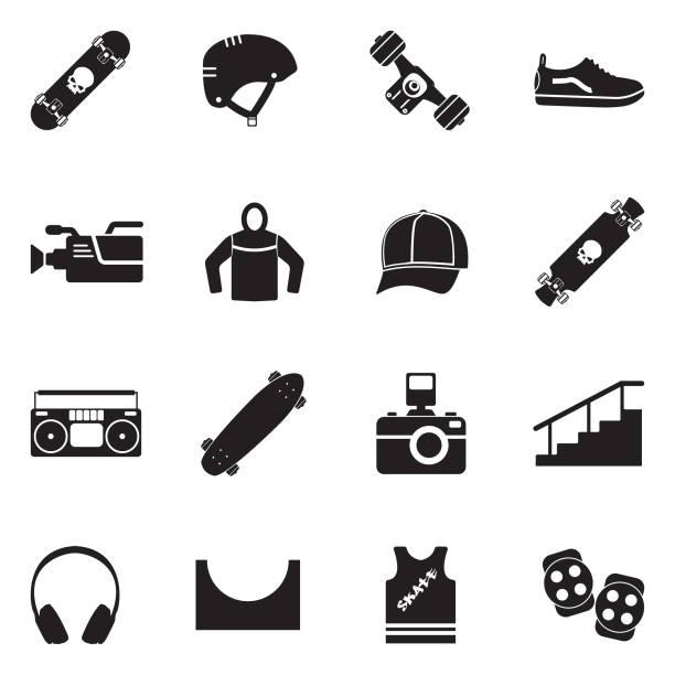 bildbanksillustrationer, clip art samt tecknat material och ikoner med skateboard ikoner. svart platt design. vektorillustration. - skatepark