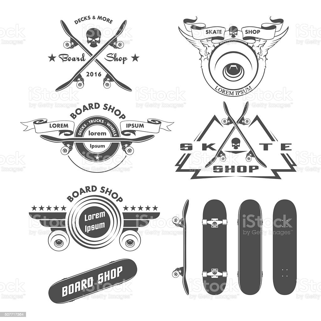Skateboarding labels badges and design elements vector art illustration