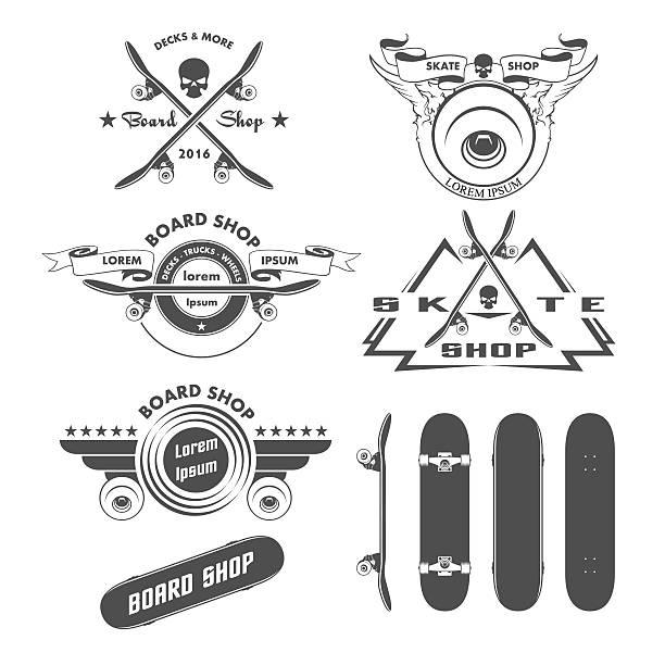 ilustraciones, imágenes clip art, dibujos animados e iconos de stock de skateboarding divisas diseño elementos y etiquetas - monopatín