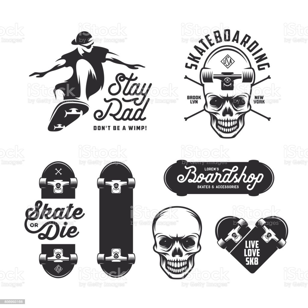 Skateboarding labels badges set. Vector vintage illustration. vector art illustration