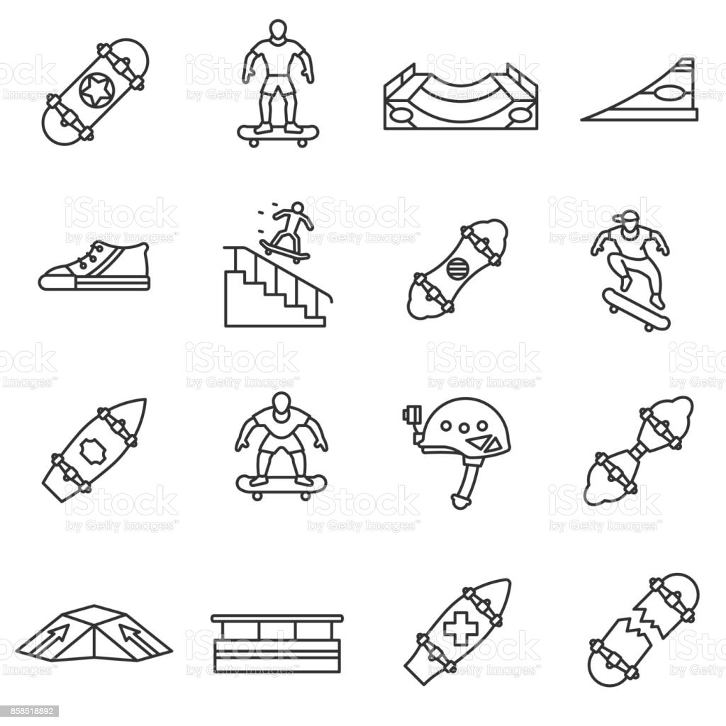 Skateboarding linear icons set.Editable stroke. vector art illustration