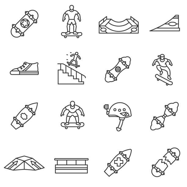 skateboarding linear icons set.editable stroke. - skateboard stock illustrations