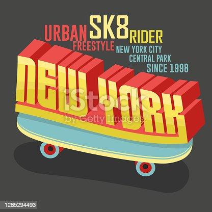 Skateboarding New York t-shirt graphic design. Vector