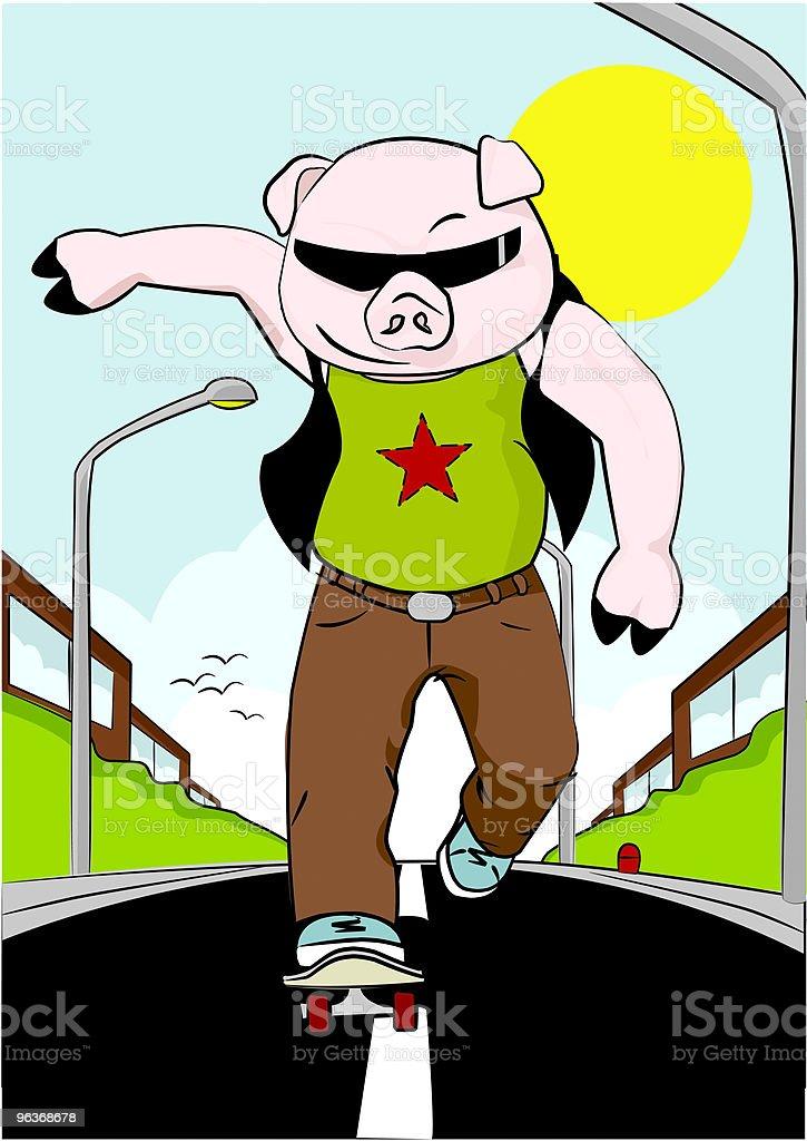 Skateboarding Pig [ a road hog ] royalty-free stock vector art