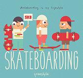 Skate Poster - Group of cartoon Youth Skaters on Big Letters Skateboarding. Skating in Park. Skateboarders with Skateboards. Vector Illustration. Retro Design. Flat Style.