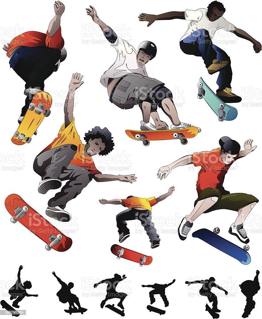 Skateboarding Set vector art illustration