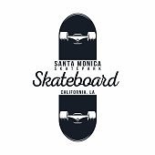 Skateboarding t shirt graphic. Urban skating. Santa Monica, California skatepark. Vintage tee graphic. Vector