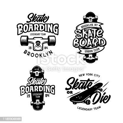 Skateboarding t-shirt design set. Urban skating. Skateboard typography set. Vector vintage illustration.