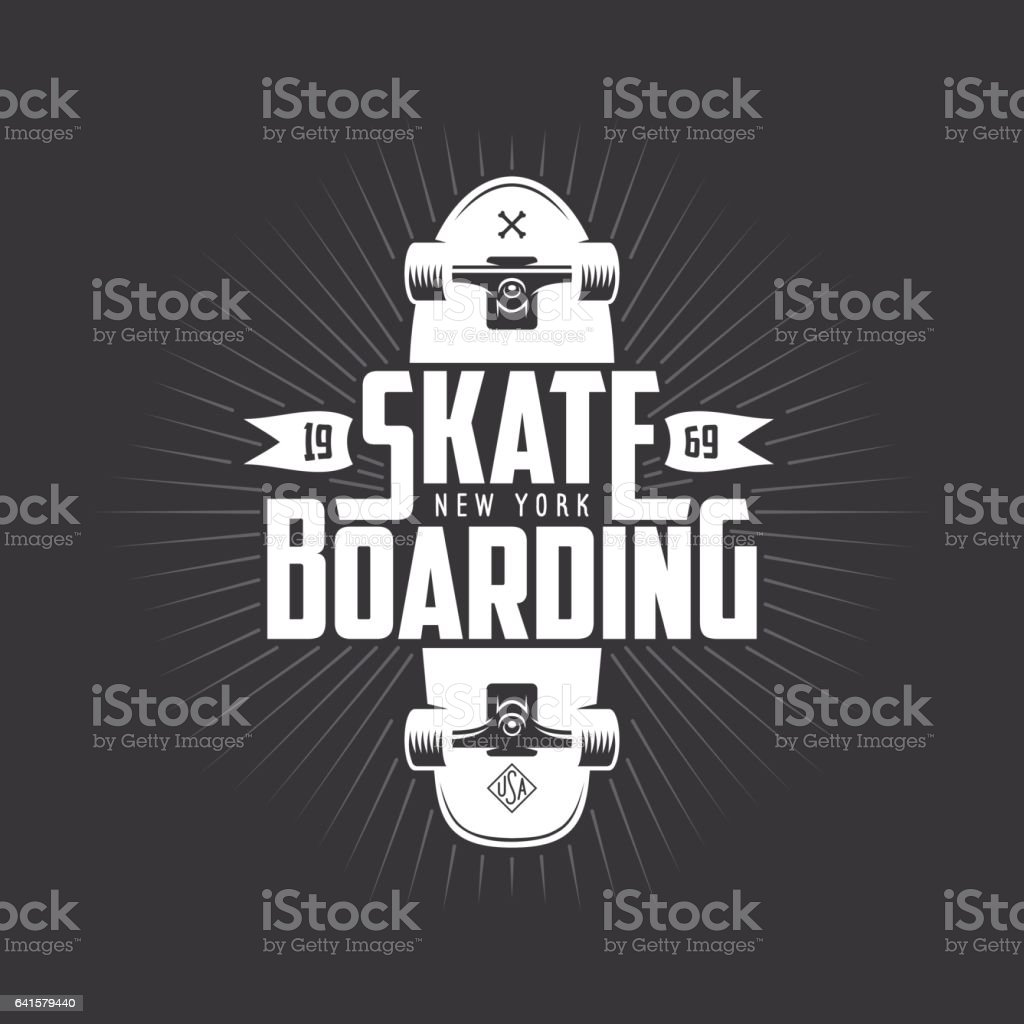 Skateboarding t-shirt design. Vector vintage illustration. vector art illustration
