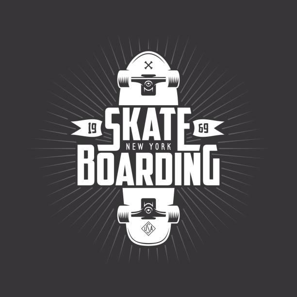 ilustrações, clipart, desenhos animados e ícones de design de camiseta skate. ilustração em vetor vintage. - andar de skate