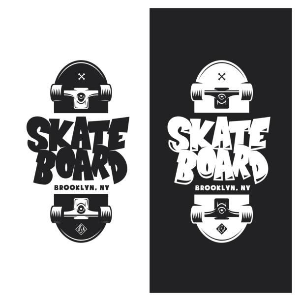 bildbanksillustrationer, clip art samt tecknat material och ikoner med skateboard t-shirt design. vintage vektorillustration. - skatepark