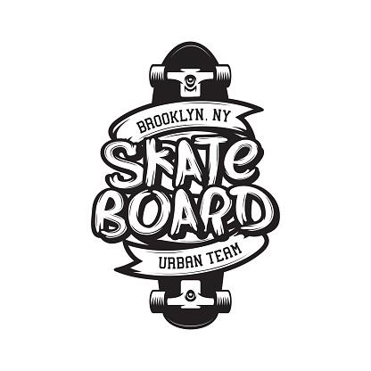 Skateboarding t-shirt design. Vector vintage illustration.