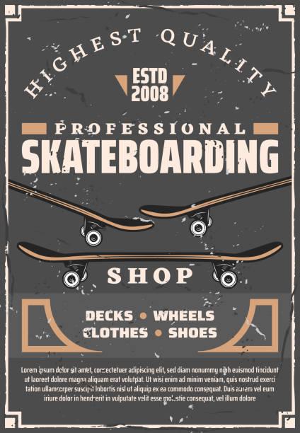 bildbanksillustrationer, clip art samt tecknat material och ikoner med skateboards, däck och hjul. skateboarding sport - skatepark