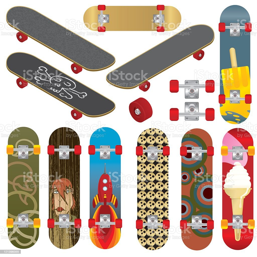Skateboards vector art illustration