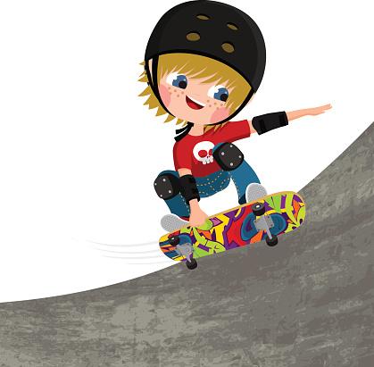 skater, boy, skateboard fun illustration vector