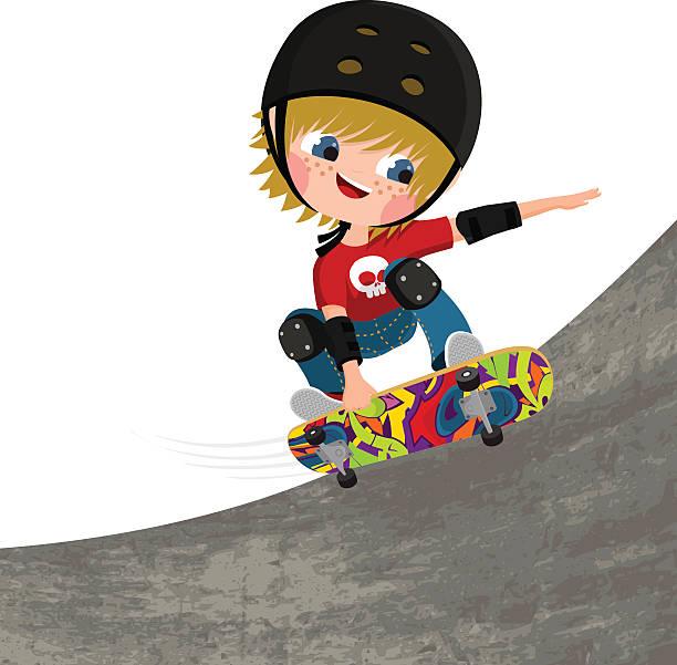 bildbanksillustrationer, clip art samt tecknat material och ikoner med skater, boy, skateboard fun illustration vector - skatepark
