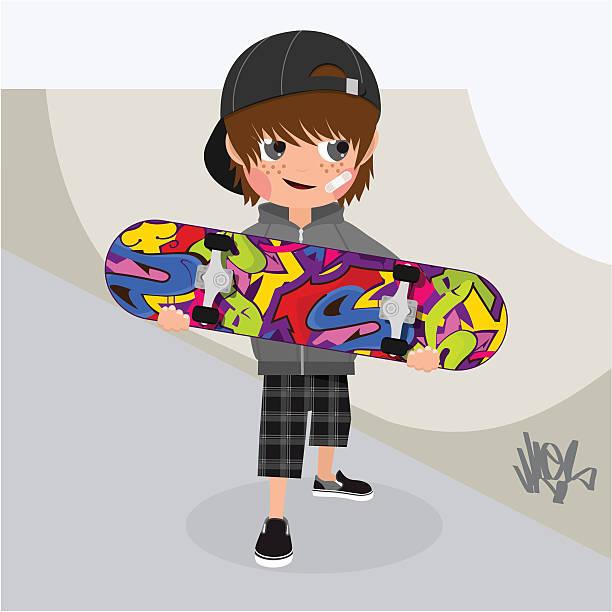 bildbanksillustrationer, clip art samt tecknat material och ikoner med skater, boy, skateboard - skatepark