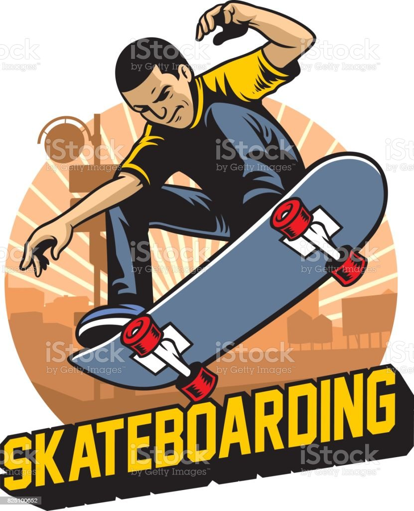 skater do the skateboard jumping trick vector art illustration