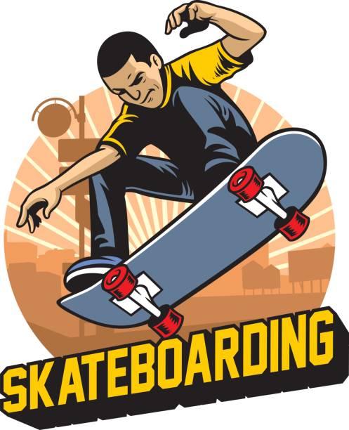 skater do the skateboard jumping trick - skateboard stock illustrations