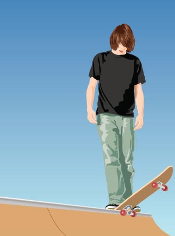 Skater dropping in