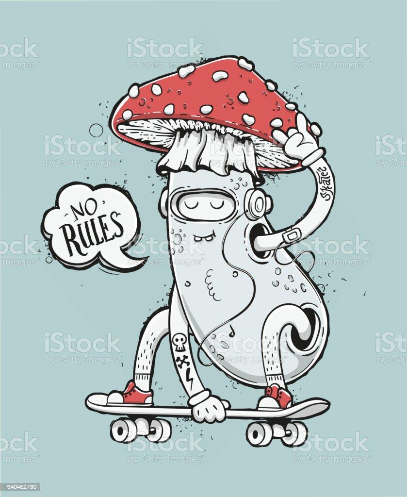 Skater Mushroom Illustration vector art illustration