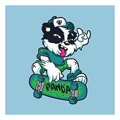 Skater panda.cartoon panda.panda illustration.