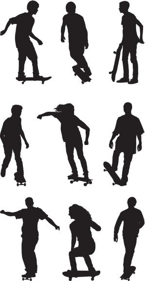 Skater silhouettes skate boarding