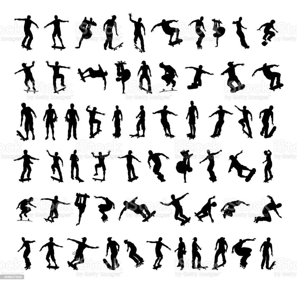Skater Silhouettes vector art illustration