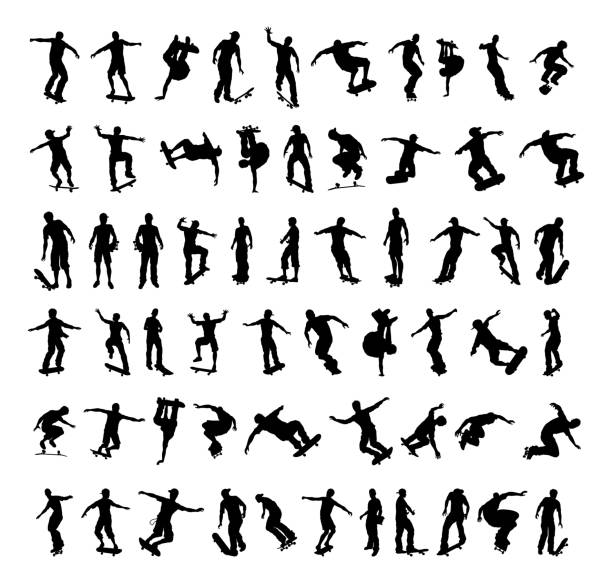 Skater Silhouettes A big set of high quality silhouettes of skaters doing tricks on their skateboards skate stock illustrations