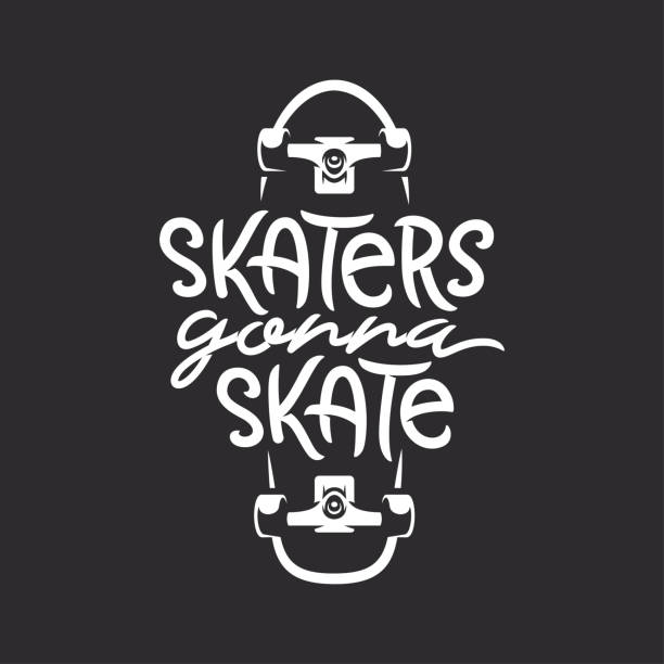Skaters gonna skate t-shirt design. Vector vintage illustration. Skaters gonna skate t-shirt design. Handmade skateboarding related typography lettering. Quote about skateboard activity. Vector vintage illustration. skate stock illustrations