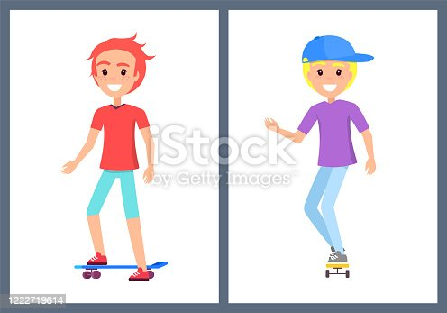 Skaters Teenage Collection Vector Illustration