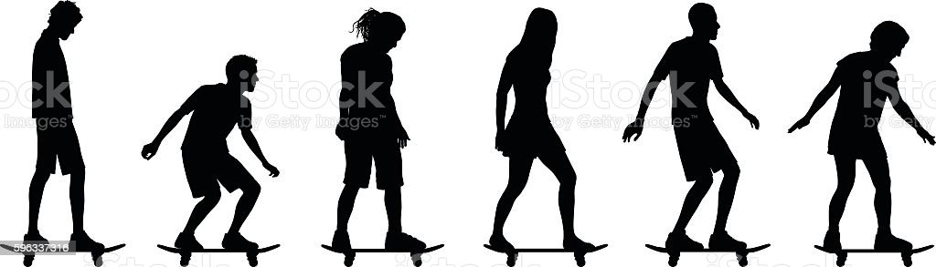 Skaters vector art illustration