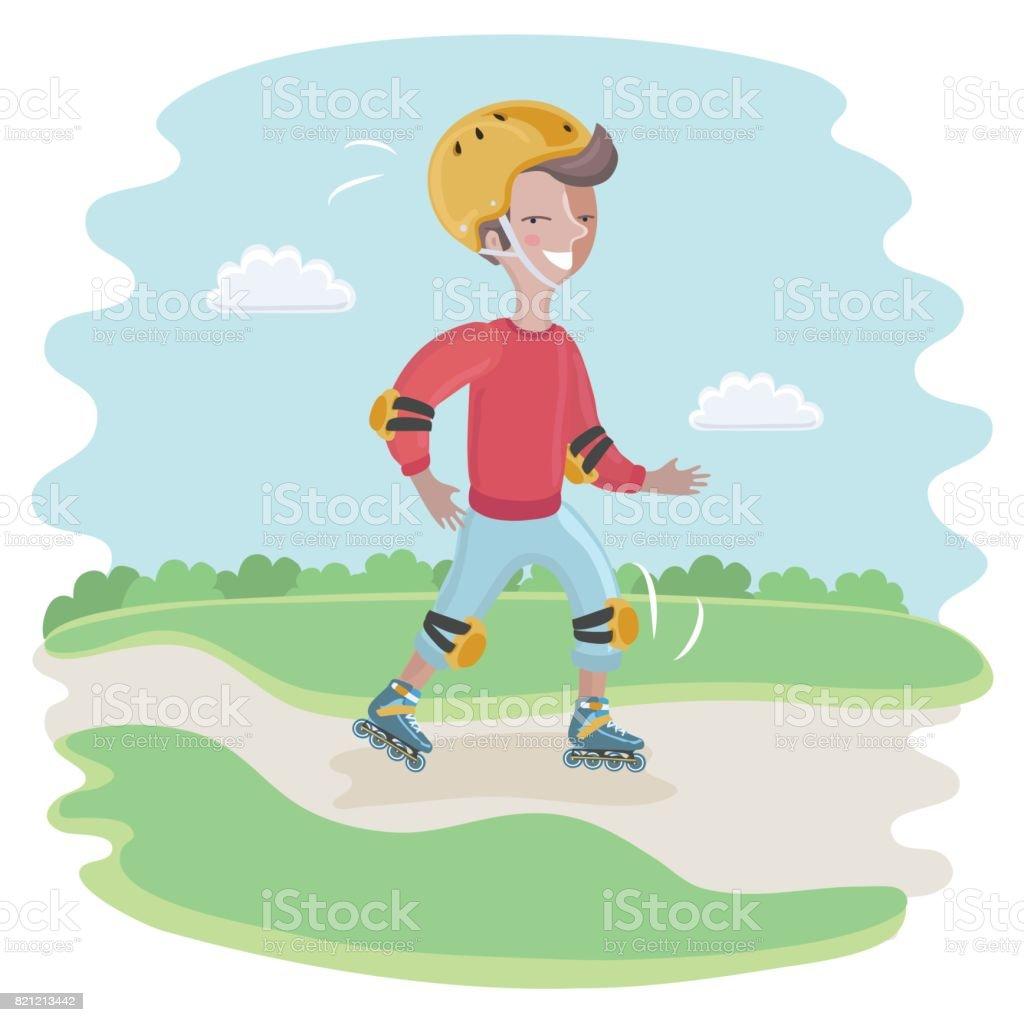 Skating Boy moving fast vector art illustration