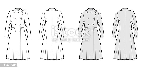 istock Skating coat technical fashion illustration with tabs, double breasted, long sleeves, round collar, A-line silhouette 1312014264