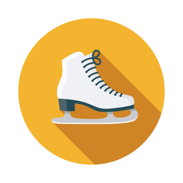 Skating Flat Design Sports Icon with Side Shadow A colored flat design sports and athletics icon with a long side shadow. Color swatches are global so it's easy to edit and change the colors. figure skating stock illustrations