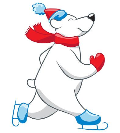 Skating polar bear cartoon
