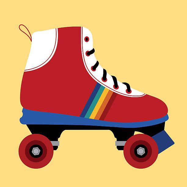 skating-schuh seventies - rollschuh stock-grafiken, -clipart, -cartoons und -symbole