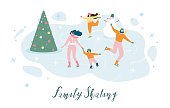 Family Skating Flat Vector Banner or Poster with Happy Parents with Children Wearing Skates and Having Fun on Ice Rink Illustration. Winter Holidays Vacation, Outdoor Activity, Christmas Celebrating