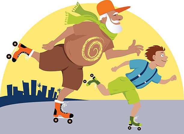 ilustraciones, imágenes clip art, dibujos animados e iconos de stock de patinaje con grandpa - nieto
