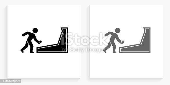 Skee Ball Black and White Square Icon. This 100% royalty free vector illustration is featuring the square button with a drop shadow and the main icon is depicted in black and in grey for a roll-over effect.